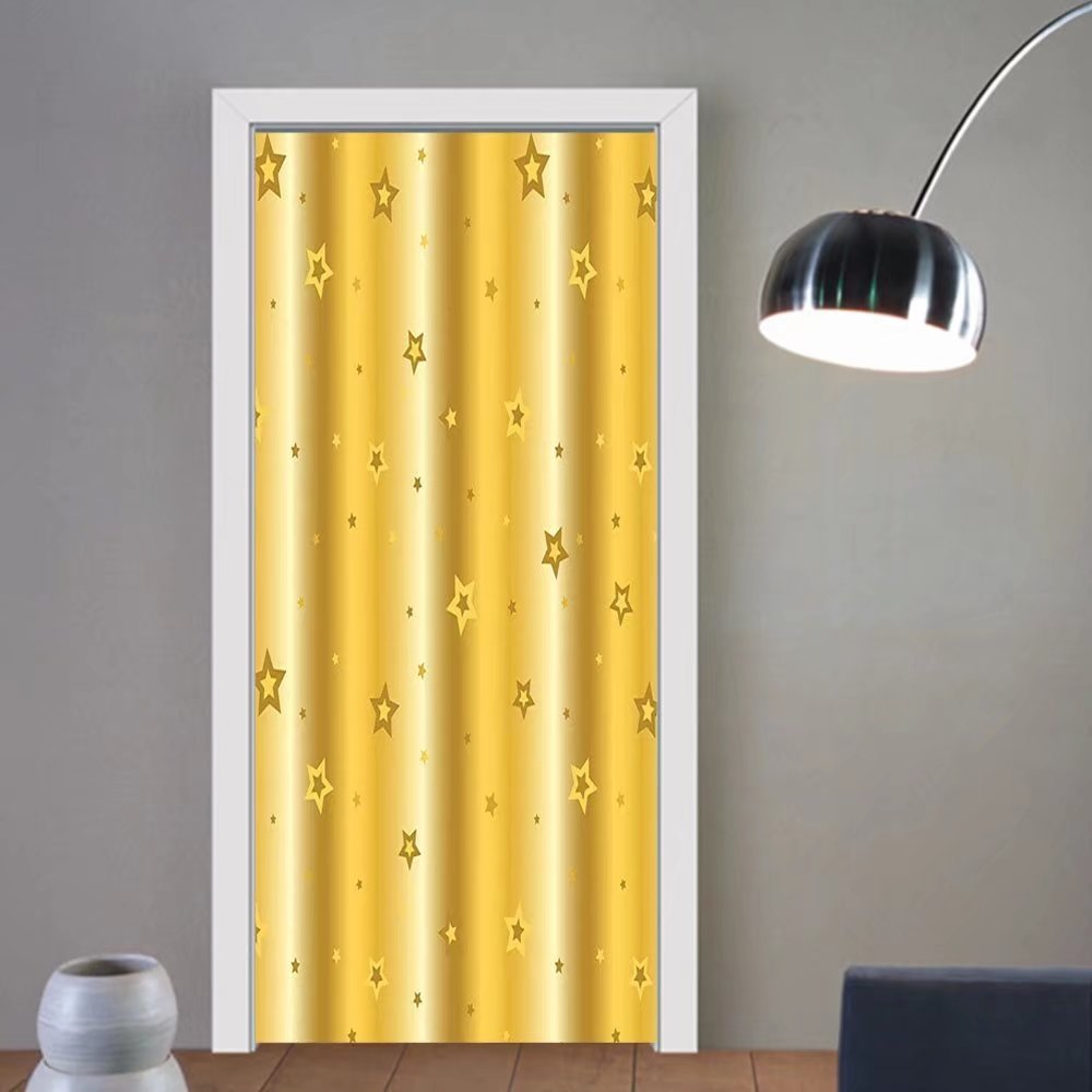 Gzhihine custom made 3d door stickers Retro Old Fashion Vibrant Background with Star Figures Luxury Icons Abstract Artsy Stylish Print Gold For Room Decor 30x79