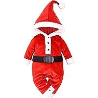 MINIFEIKO - Disfraz de Papá Noel para recién nacido, niño y niña, traje de terciopelo para bebés con cola larga…