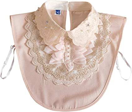 Womens Half Shirt Blouse Top Detachable Peter Pan Embroidery Fake False Collar