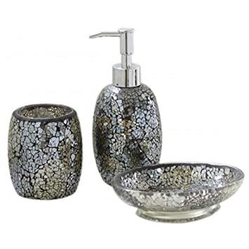 SPARKLE Mosaic Bathroom Set Soap Dish Dispenser Beaker Black Gold