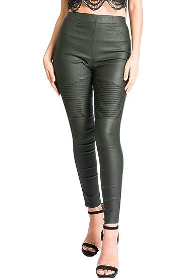 67187395d292bc A.Peach Women's Biker Pleather Leggings at Amazon Women's Clothing store: