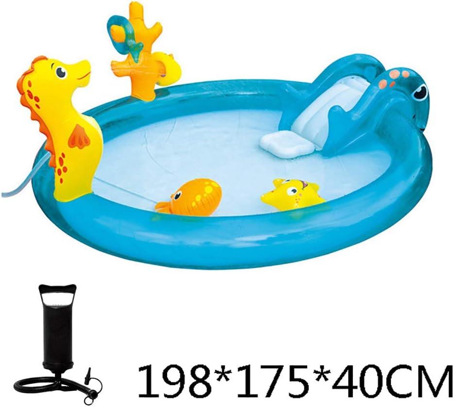 Zhyaj Infantil Hinchable Piscina con Tobogán para Niños Piscina Oval Brandenburg Piscina De Agua Pulverizada