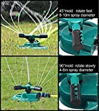 Lawn Sprinkler – Automatic 360 Rotating Adjustable Garden Hose Watering Sprinkler System,Covering Large Area with Leak Free Design Durable 3 Arm Sprayer(Green)