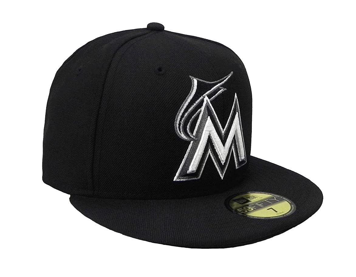 81860f2b04e New Era 59Fifty Men s Hat Miami Marlins MLB Black Fitted Headwear Cap at  Amazon Men s Clothing store