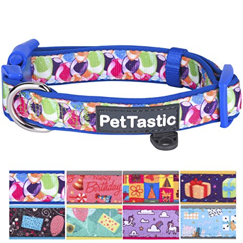 (PetTastic Best Adjustable Large Dog Collar Durable Soft & Heavy Duty with Cute Birthday Design, Outdoor & Indoor use Comfort Dog Collar for girls, boys, puppy, adults, including ID Tag Ring )