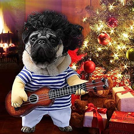 Idefair Disfraces Guitarra Divertidos para Perros Ropa para Mascotas Ropa para Perros Traje para Perrito Pequeños