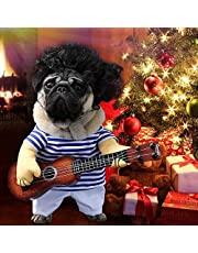 Idefair Funny Guitar Dog Costumes Pet Clothing Dog Clothes Suit for Puppy Small Medium Dogs Chihuahua Teddy Pug Christmas Party Halloween Costumes Outfit (M)
