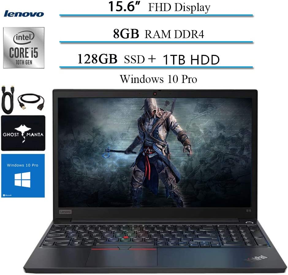 "2020 Lenovo ThinkPad E15 15.6"" FHD Business Laptop Computer, 10th gen Intel i5-10210U (up to 4.20GHz,Beat i7-8550u), 8GB RAM, 128GB SSD + 1TB HDD, WiFi HDMI Win10 Pro w/Ghost Manta Accessories"