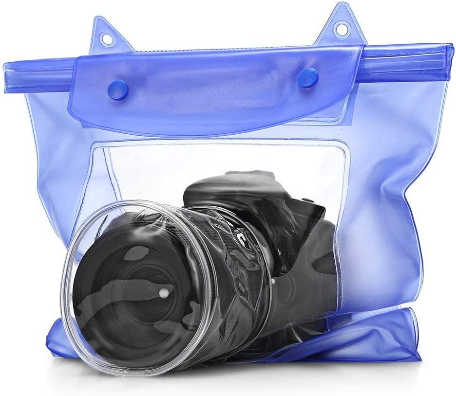 DSLR SLR Camera Waterproof Bag Underwater Housing Case Pouch Cover for Canon Nikon - Blue
