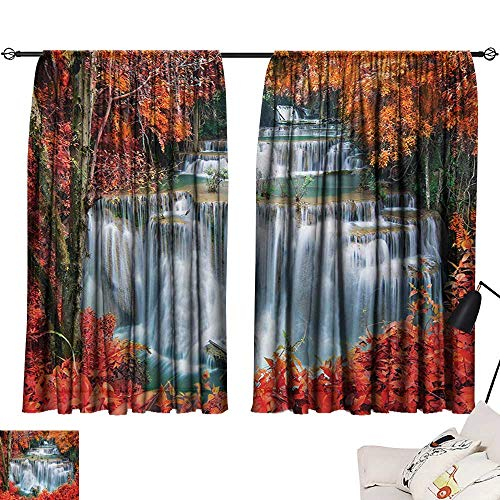 Davishouse Waterfall Thermal Insulated Drapes for Kitchen/Bedroom Waterfalls Like Stairs in Forest Hidden in The Botanic Seasonal Trees Noise Reducing