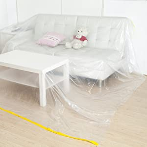 "QEES 144""/12ft Plastic Furniture Cover, Extra Large Sofa Couch Cover Durable Waterproof Furniture Protector Dust Cover for Bed Sofa Furniture Moving or Storage JJZ21"