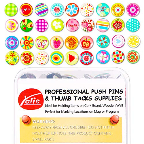 100 Pcs Creative Thumb Tacks Over 30 Patterns Soft Flat for Photos Wall, Maps, Bulletin Board or Corkboards