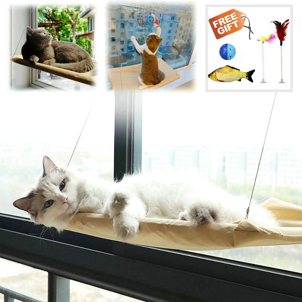 Petvins Cat Window Perch with Super Suction Cups, Cat Hammock for Any Cat Size, Space Saving Cat Bed for Sunbath by Petvins