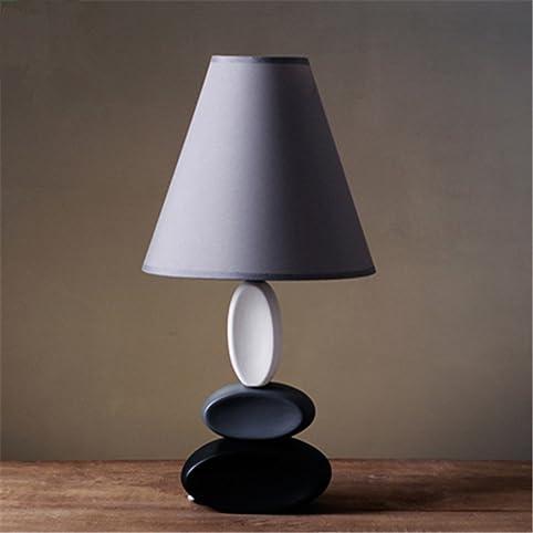tisch nachttischlampenkunst dekor keramik tischleuchte e14 halter grauer stoff lampenschirm led lampe schreibtisch - Nachttischlampen