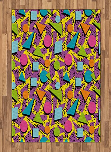 Ambesonne Vintage Area Rug, Funky Geometric 80s Memphis Fashion Style Colorful Figures Pop Art Inspired Pattern, Flat Woven Accent Rug for Living Room Bedroom Dining Room, 4 X 5.7 FT, Multicolor