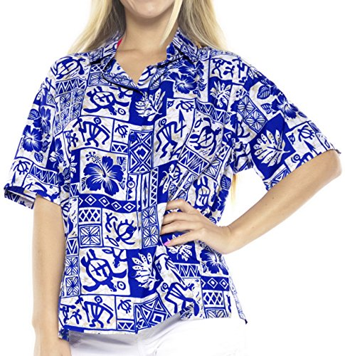 vestido de la playa bot�n de la camisa hawaiana de manga corta blusa hacia abajo para cubrir la piel de las mujeres de las se�oras superiores Azul