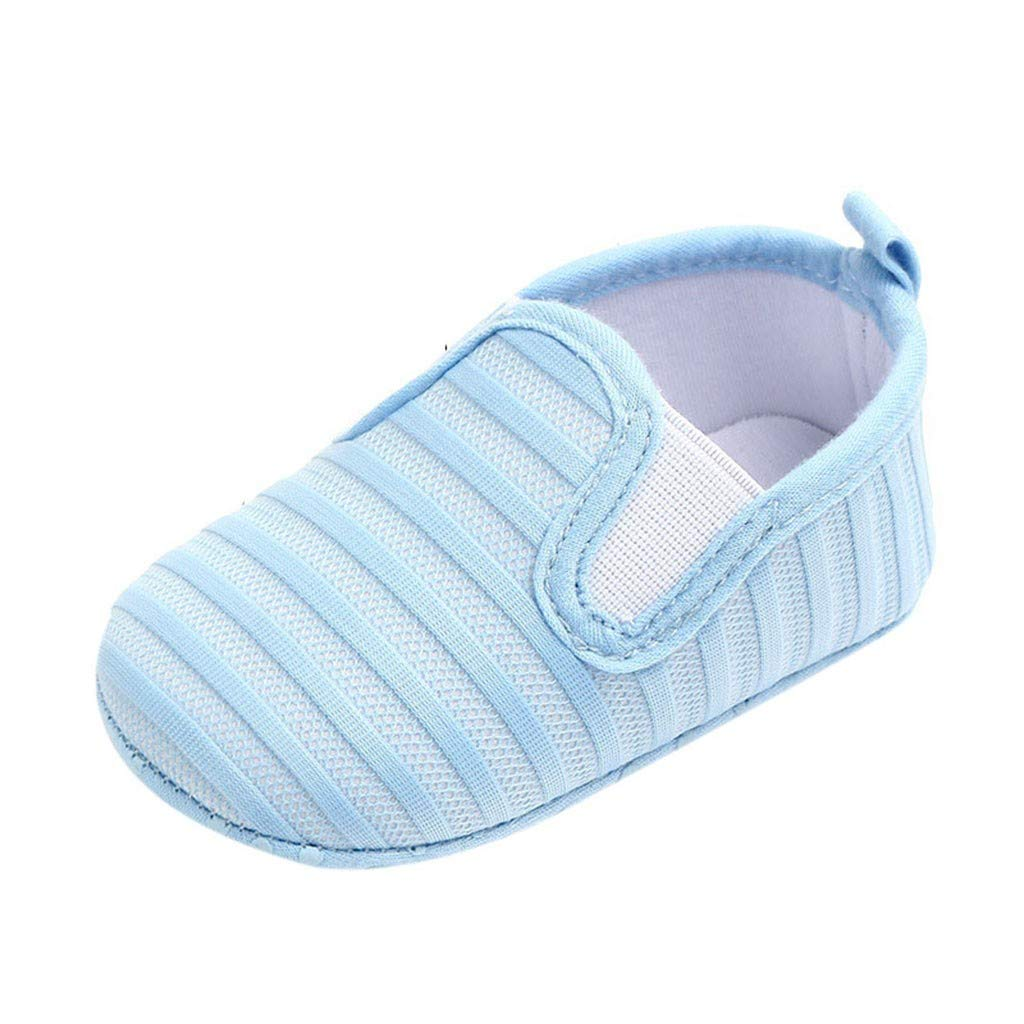 NUWFOR Newborn Baby Candy Color Striped Mesh First Walkers Soft Sole Casual Shoes(Light Blue,0-6 Months)