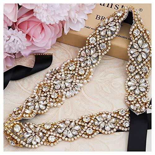 (Yanstar Handmade Gold Crystal Rhinestone Black Belts Sashes For Bridal Wedding)