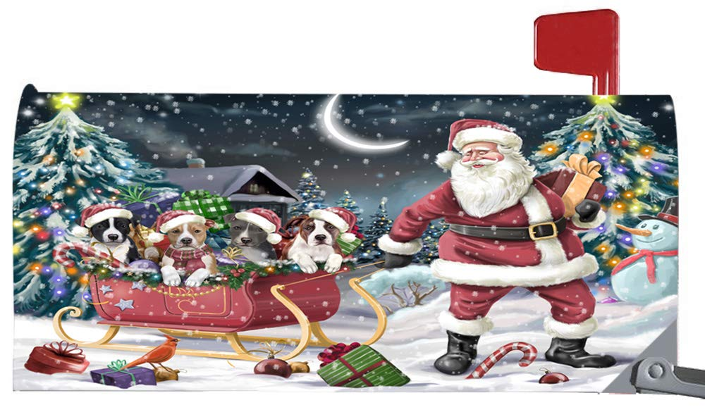 Doggie of the Day Magnetic Mailbox Cover Santa Sled Christmas Happy Holidays American Staffordshires Dog MBC48091