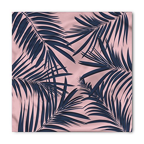 Navy and Blush Bandana by Ambesonne, Summer Exotic Floral Tropical Palm Tree Leaf Banana Plant Hawaii, Printed Unisex Bandana Head and Neck Tie Scarf Headband, 22 X 22 Inches, Night Blue Pale Pink - Tropical Floral Palm Tree