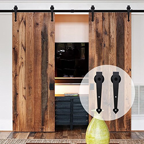 CCJH Country Antique Heart Style 8FT Sliding Barn Wood Door Hardware Track Set 96'' for Double Door Black by CCJH