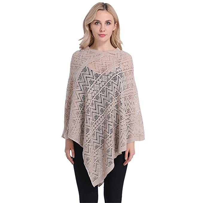 SherryDC Women\'s Fashion Lace Crochet Knit Batwing Pullover Sweater ...