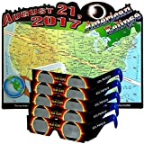 SciGear 2017 Solar Eclipse Viewing Glasses with Poster - Safe for Sun Watching in Total or Partial View - Safety Spectacles fit over Prescription Shades - Kids or Adult - CE & ISO Certified - USA Made