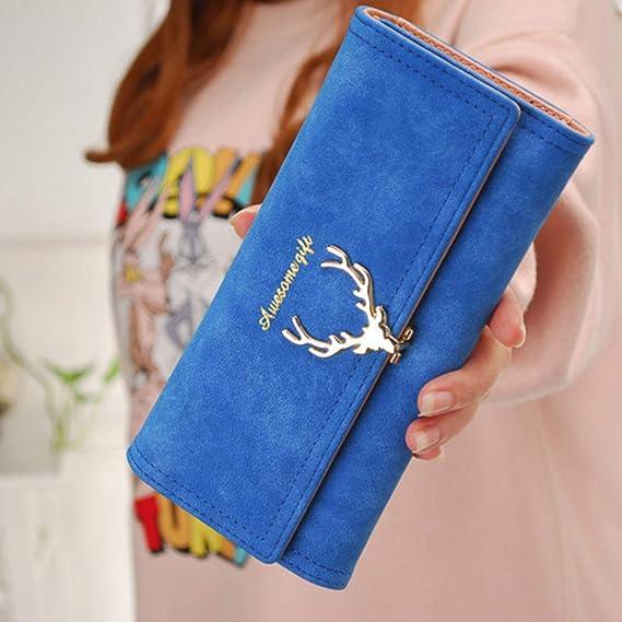 FUNOC para mujer sobre cartera de piel botón embrague Monedero Largo Bolso Cremallera Bolsa - Azul -: Amazon.es: Ropa y accesorios