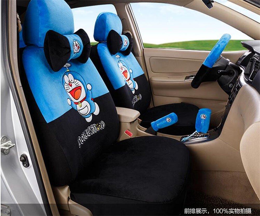 1 Sets lovely cartoon comfotable Universal Car five Seat covers Car Steering Wheel Cover women car seat cushion (sapphire black)