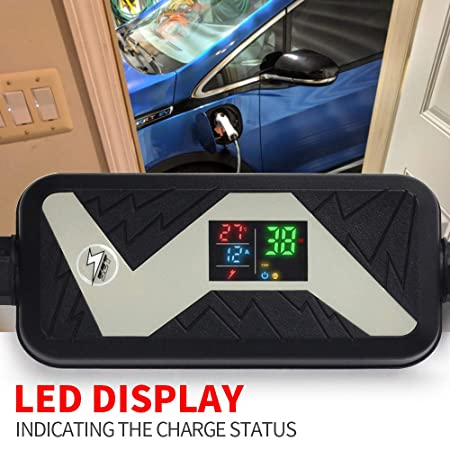 to J1772 Plug LED Display EVSE Electric Vehicle Charging Station Compatible with All EV Cars MICTUNING Level 2 EV Quick Charger 85-265V, 16A, 25FT