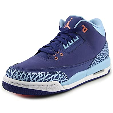 separation shoes 8f7e4 6f50f Jordan Nike Kids Air 3 Retro GG Blue Leather Basketball Shoes 5.5