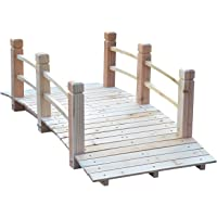 Outsunny 5 ft Wooden Garden Bridge Arc Stained Finish Footbridge with Safety Railings for Your Backyard, Natural Wood