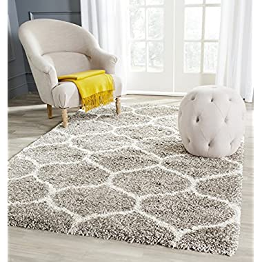 Safavieh Hudson Shag Collection SGH280B Grey and Ivory Area Rug, 8 feet by 10 feet (8' x 10')