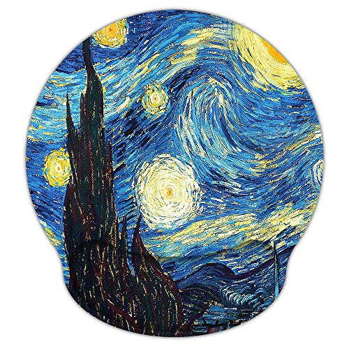 Mouse Pads for Computers Ergonomic Memory Foam Nonslip Van Gogh Wrist Support-Lightweight Rest Mousepad for Office,Gaming,Computer, Laptop & Mac,Pain Relief,at Home Or Work (Starry Night)