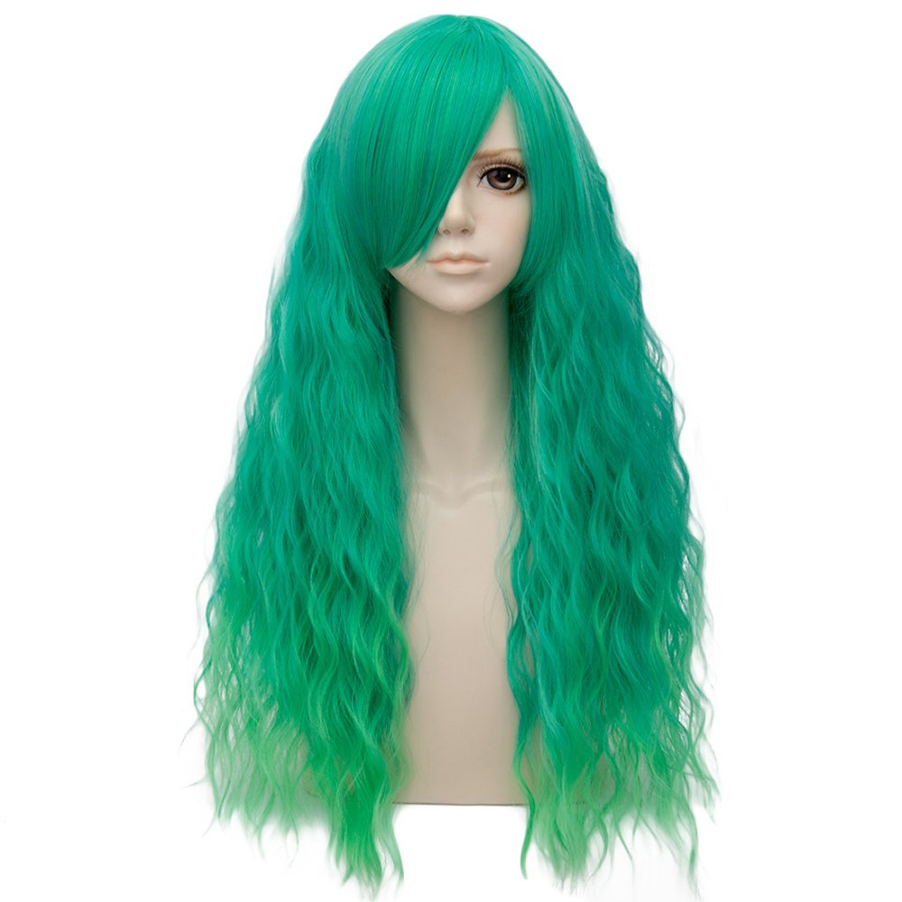 Green Ombre Long 28 Inches Curly Heat Resistant Cosplay Wig Fashion Lolita Women's Party