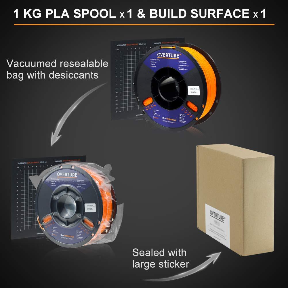 2.2lbs Orange Overture PLA Plus Filament 1.75mm PLA Professional Toughness Enhanced PLA Roll with 3D Build Surface 200 /× 200mm Premium PLA 1kg Spool PLA+ Dimensional Accuracy +//- 0.05 mm