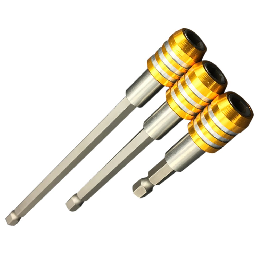 Yellow LOVIVER 3PCS 1//4 Hex Quick Release BIT Holder Set 60/&100/&150mm Screw BIT Adaptor Drill