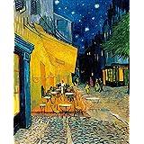 O Terraço do Café à Noite de Vincent van Gogh - 50x62 - Tela Canvas Para Quadro