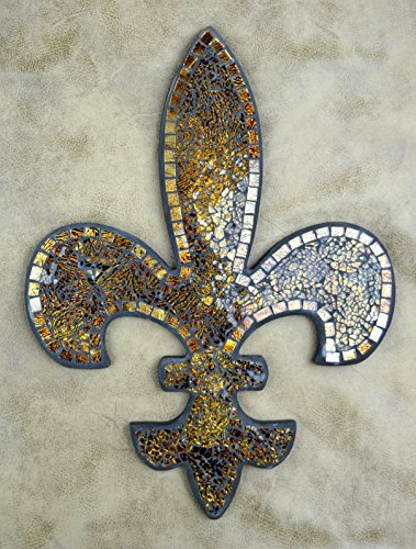 Fleur De Lis Decorations (Lulu Decor, Fleur De Lis Decor, Wall Decorative Plaque, Perfect for Housewarming Gift (Amber Mosaic))