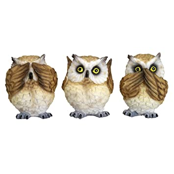 Bits And Pieces   3 Little Wise Owl Sculptures   Home And Office Décor   Set