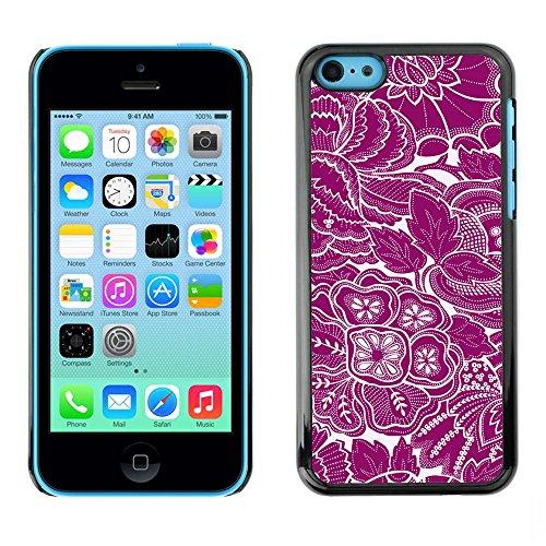 TopCaseStore / caoutchouc Hard Case Housse de protection la Peau - Wallpaper Purple White Floral Flowers Art - Apple iPhone 5C
