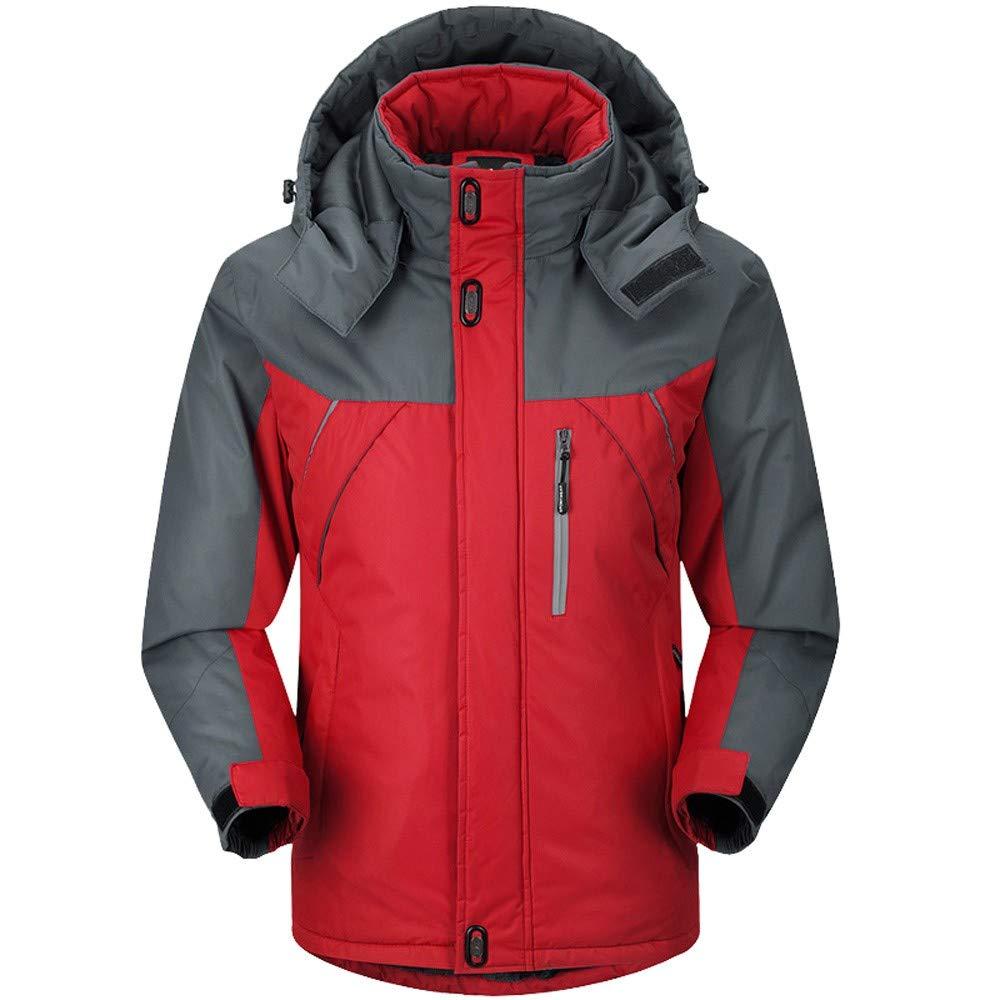 ThePass Mens Winter Thick Fleece Hooded Coat Long Sleeve Warm Zip Wind Jacket