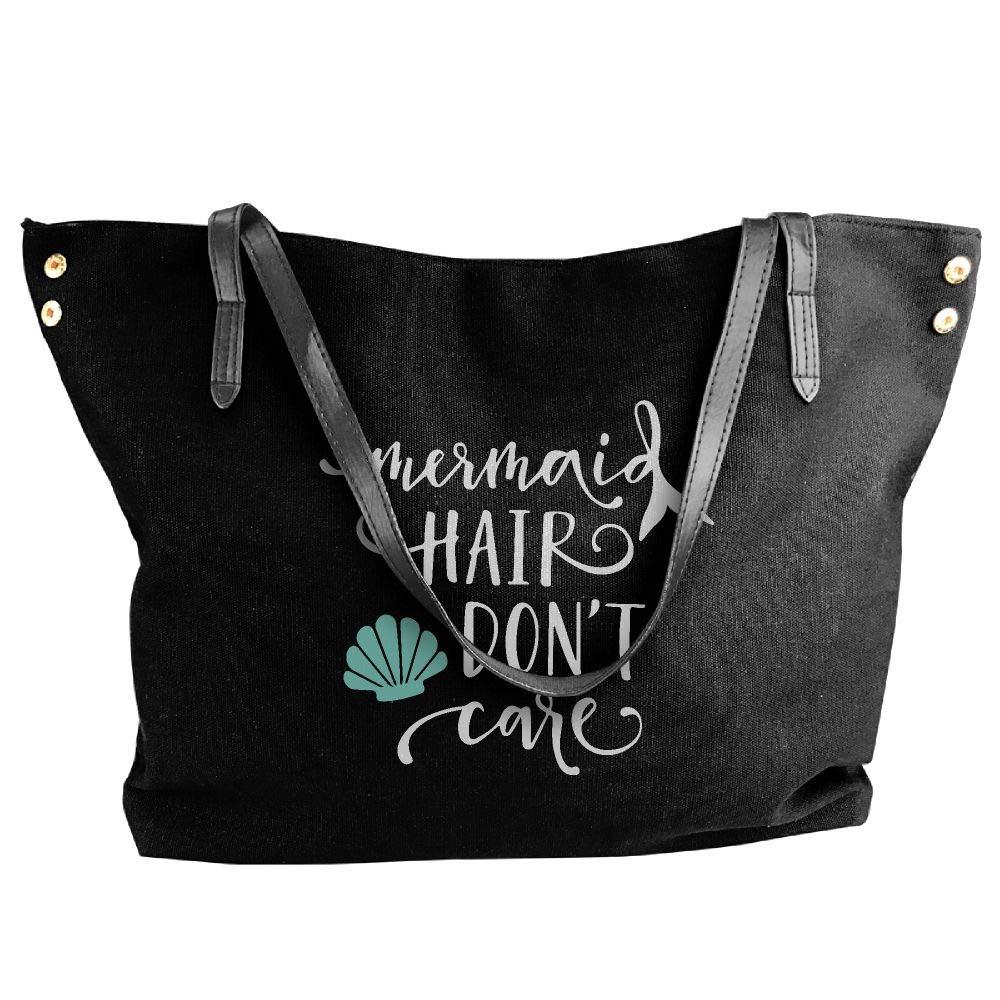 Women's Mermaid Hair Don't Care-1 Canvas Shoulder Bag Handbags Tote Bag Casual Shopping Bag