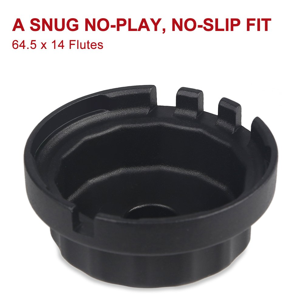 Fit 64mm 14 Flutes Cartridge Style Oil Filter Housing with A Pair of Gloves JDMON Oil Filter Wrench for 2.5 L to 5.7 L Engines Lexus Toyota Lexus Highlander Camry RAV4 and More