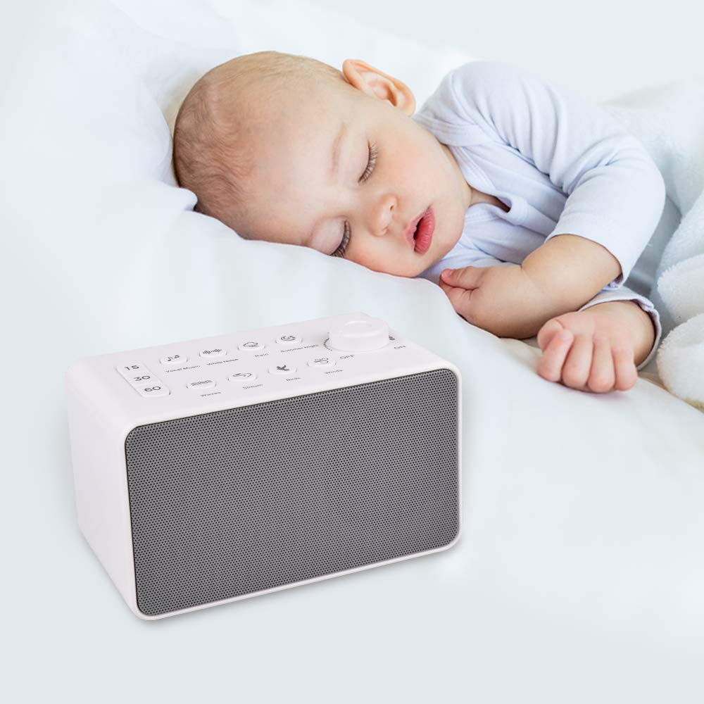 Sound Machine White Noise Machine for Relaxing Sleeping 3 auto-off Timer Settings 8 Natural Soothing High Fidelity non-looping sounds for Baby Adults Portable for Home Office Travel