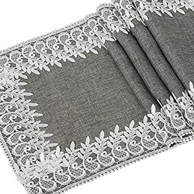 "Ling's moment 14"" x 72"" Burlap Jute Table Runner with Lace, Linen Gray Table Runner for Bridal Shower Baby Shower Party Decor, Engagement Wedding Farmhouse Decorations"