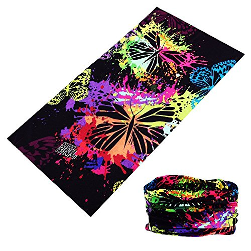 Multifunctional 16-in-1 Yoga Sports Fashion Travel Colors Headband Seamless Neck Uv Buff Solid Moisture Wicking Bandana Turban Scarf (15color Butterfly)