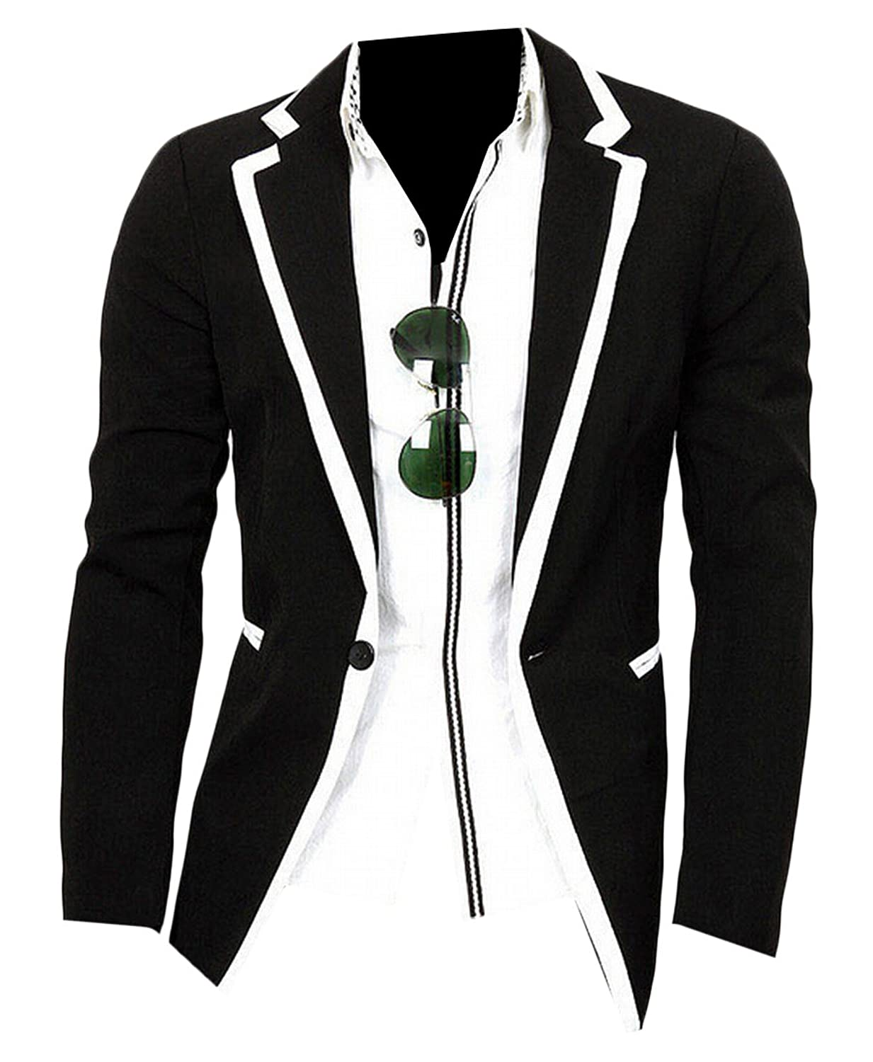 Abetteric Men's Tops Long Sleeve Splice Fitted One Button Coats