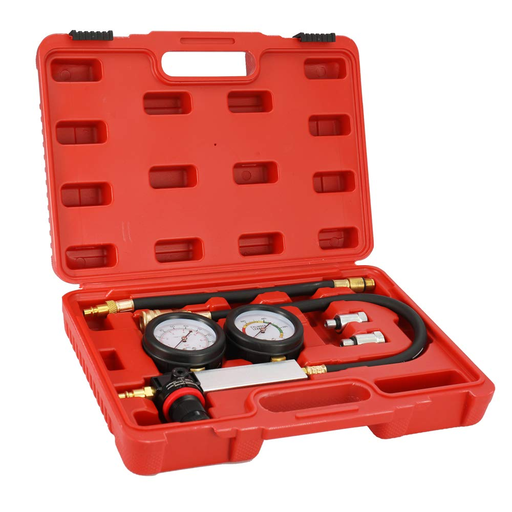 Walmeck Auto Cylinder Leak Tester Compression Leakage Detector Kit Petrol Engine Gauge Tool Kit Double Gauge System with Case