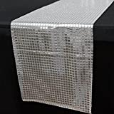 Efavormart 5PCS of Dashing Mirror Foil Table Runner for Weddings Birthday Parties Decor Fit Rectangle and Round Table- Silver
